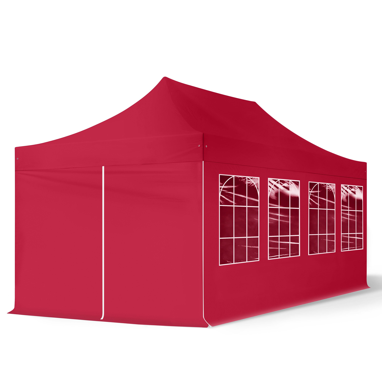 Intent24.fr Tente pliante 3x6m Polyester haute qualité 300 g/m² rouge imperméable barnum pliant, tonnelle pliante