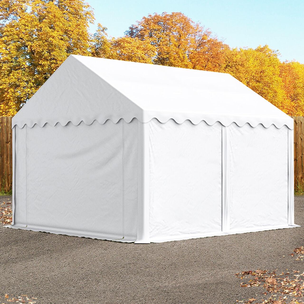 Intent24.fr Tente de stockage 4x4m PVC 500 g/m² blanc imperméable hangar PVC