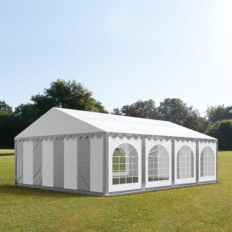 Intent24.fr Tente de réception 5x8m PVC 500 g/m² gris imperméable barnum, chapiteau