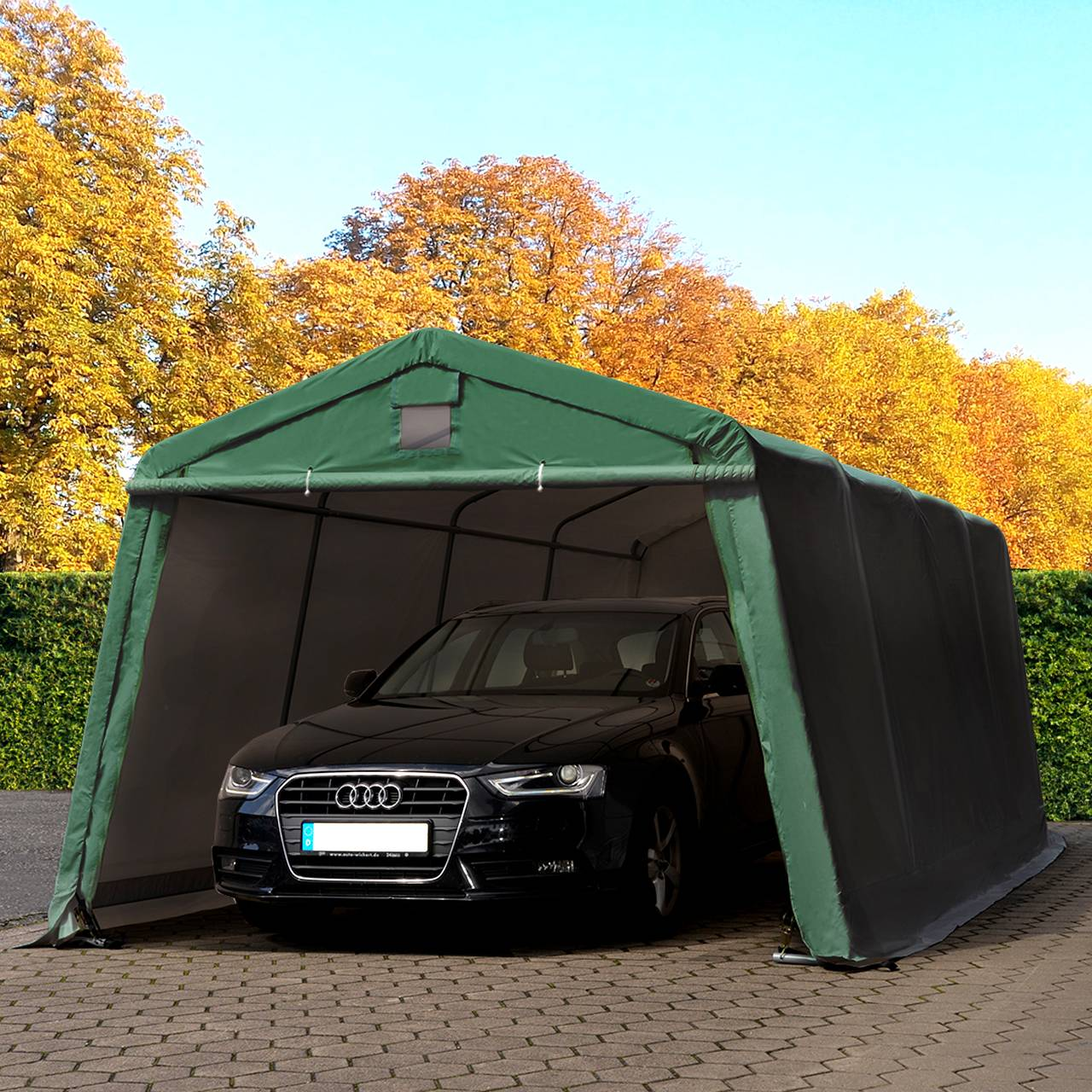 Intent24.fr Tente garage 3,3x6,0m PVC 500 g/m² vert imperméable abri PVC