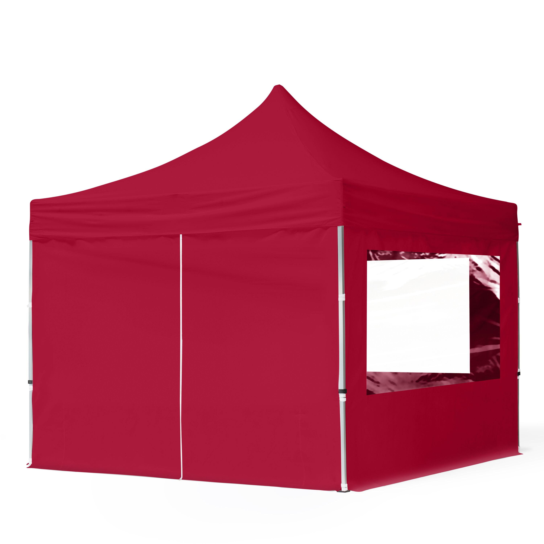 Intent24.fr Tente pliante 3x3m Polyester haute qualité 300 g/m² rouge imperméable barnum pliant, tonnelle pliante