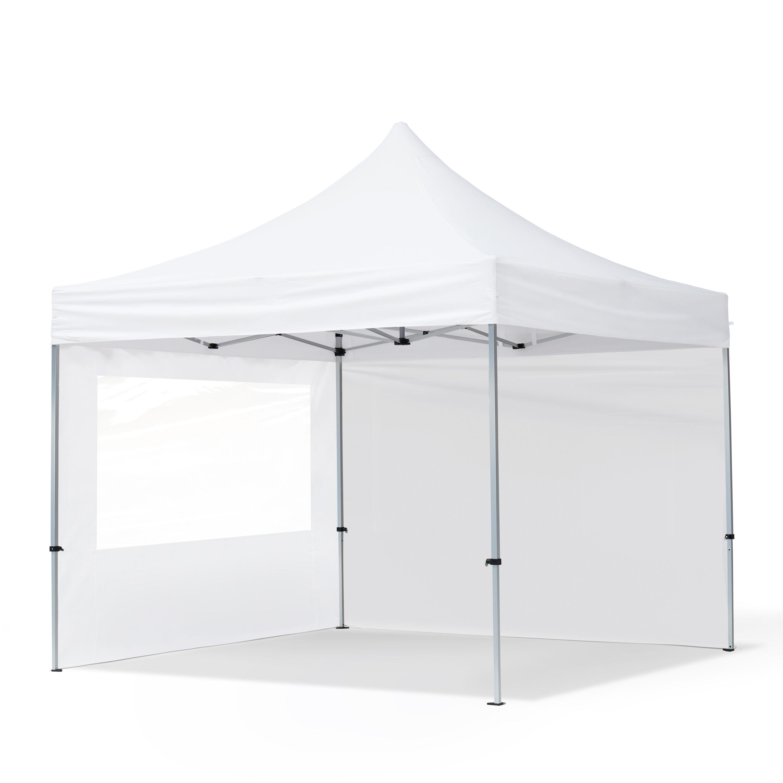 Intent24.fr Tente pliante 3x3m Polyester haute qualité 300 g/m² blanc imperméable barnum pliant, tonnelle pliante