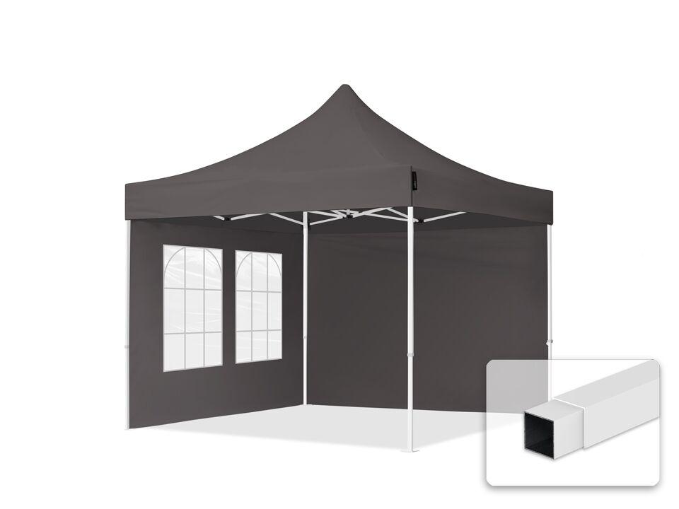 Intent24.fr Tente pliante 3x3m Polyester haute qualité 300 g/m² gris imperméable barnum pliant, tonnelle pliante