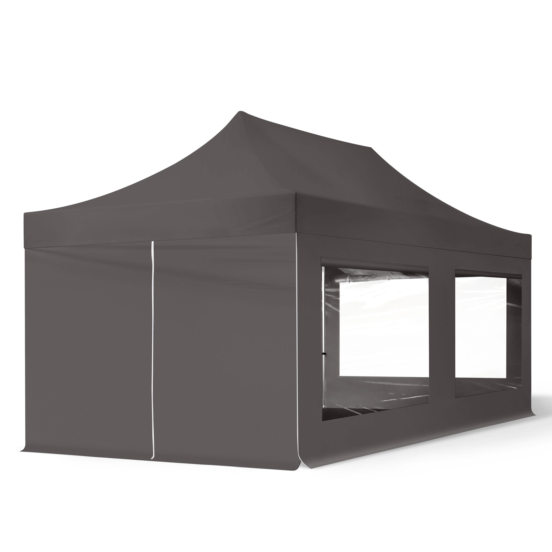 Intent24.fr Tente pliante 3x6m Polyester haute qualité 300 g/m² gris imperméable barnum pliant, tonnelle pliante