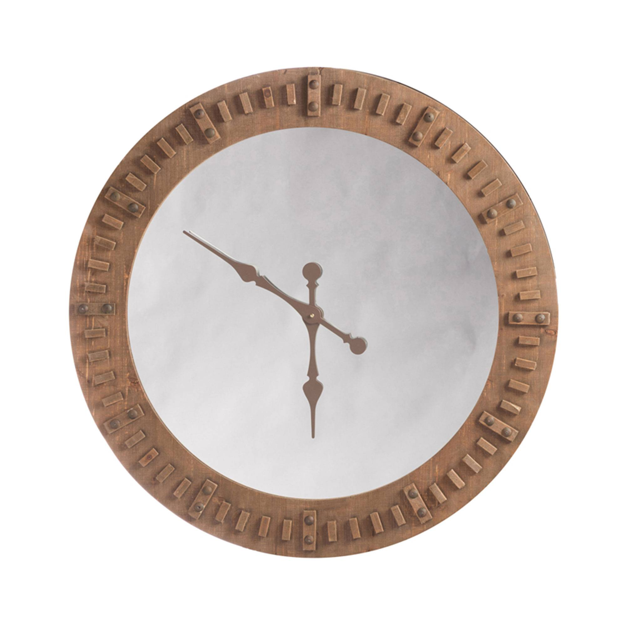 Horloge miroir 119 cm en bois naturel
