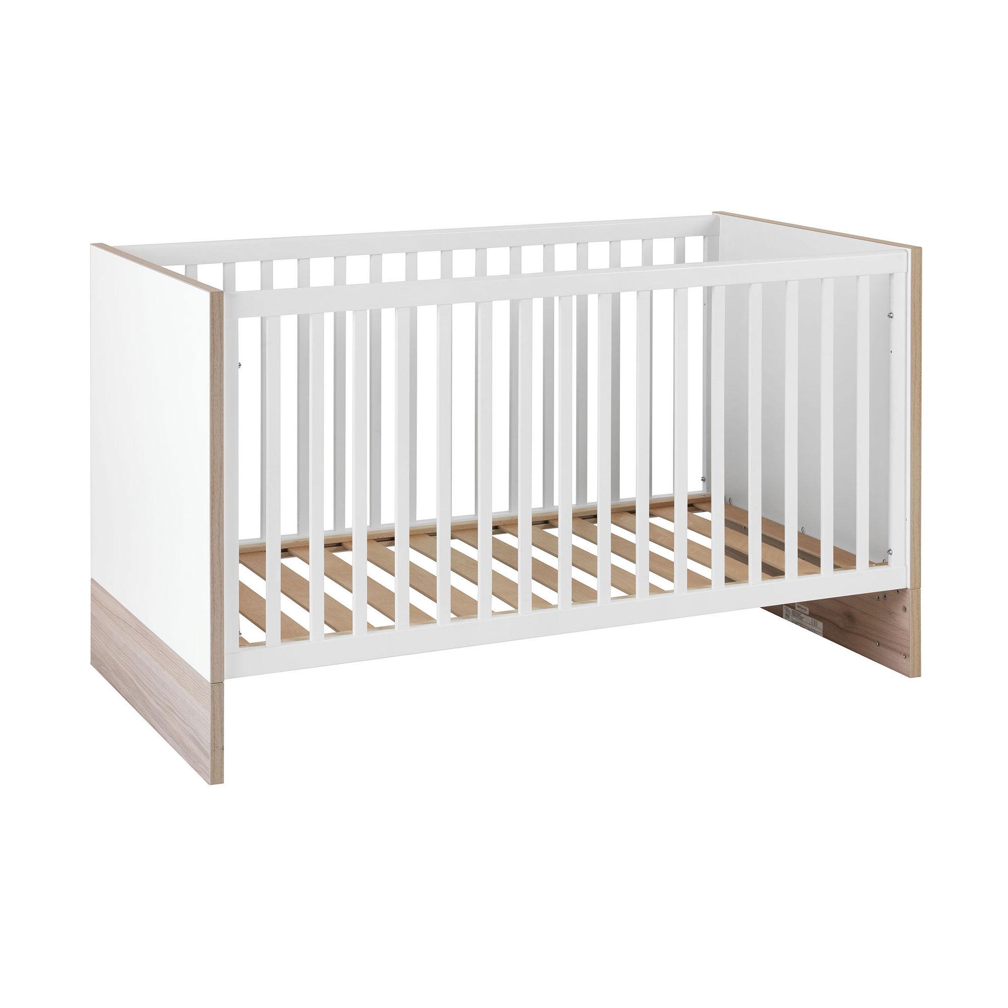 Lit bébé évolutif 70x140 cm naturel et blanc - PIETRO