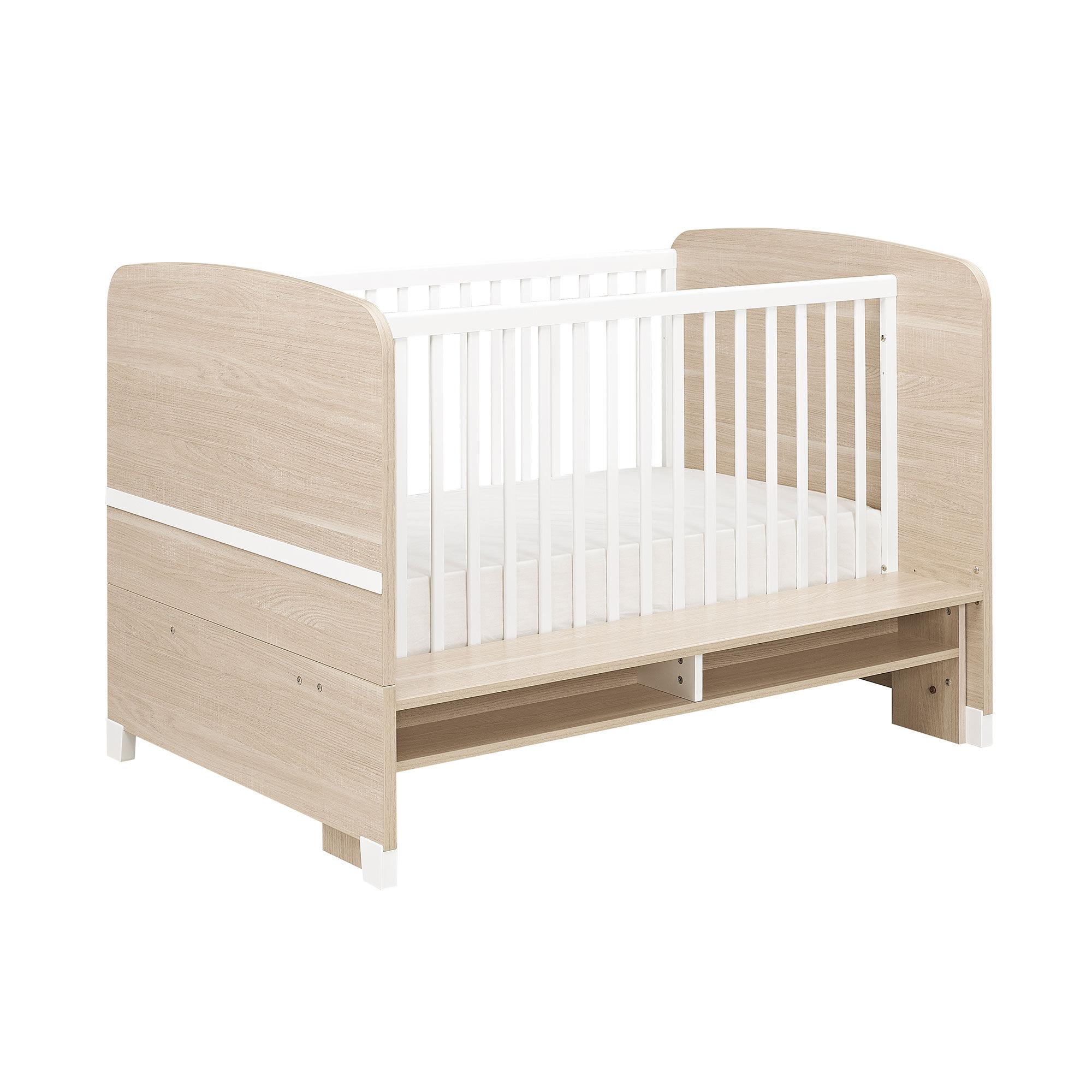 Lit bébé évolutif 70x140 cm naturel et blanc - GAYLOR
