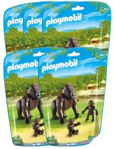 Playmobil Jouet Playmobil collection Le Zoo - Maman Gorille et ses bébés (n° 6639) - x5