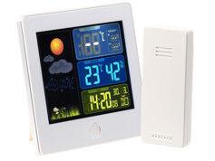 Infactory Station météo & horloge radio-pilotée avec capteur extérieur FWS-260 - Blanc