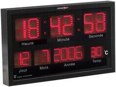 Lunartec Horloge murale radio-pilotée à LED rouges