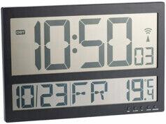 Infactory Horloge murale radio-pilotée avec thermomètre intérieur XXL