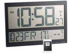 Infactory Horloge murale radio-pilotée avec thermomètre int./ext. XXL