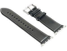 Callstel Bracelet en cuir pour Apple Watch - 38 mm - Noir