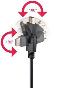 Goobay Câble HDMI 4K High Speed Ethernet avec connecteurs 360° - 3m