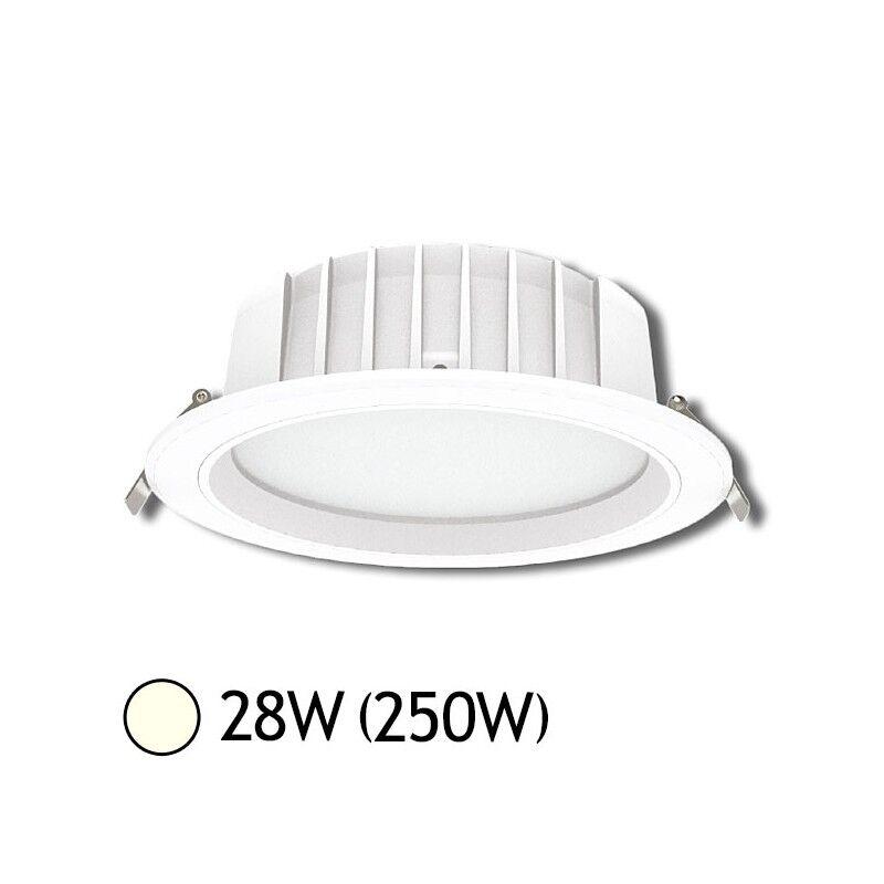 Vision-EL Downlight LED 28W (250W) Encastrable Ø230 Blanc jour 4000°K Alu blanc
