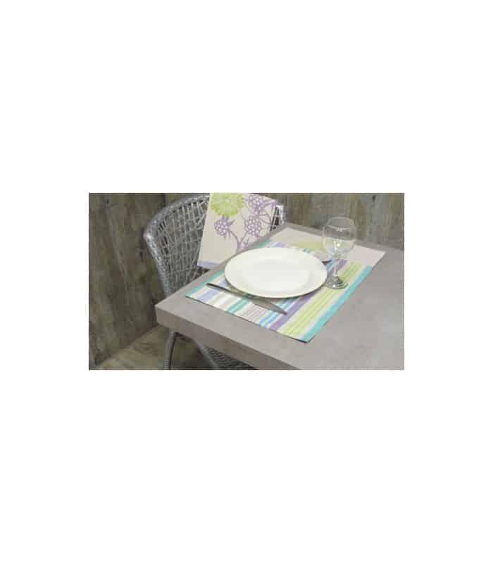 ART 2 Sets de table rayé turquoise et mauve - Vert