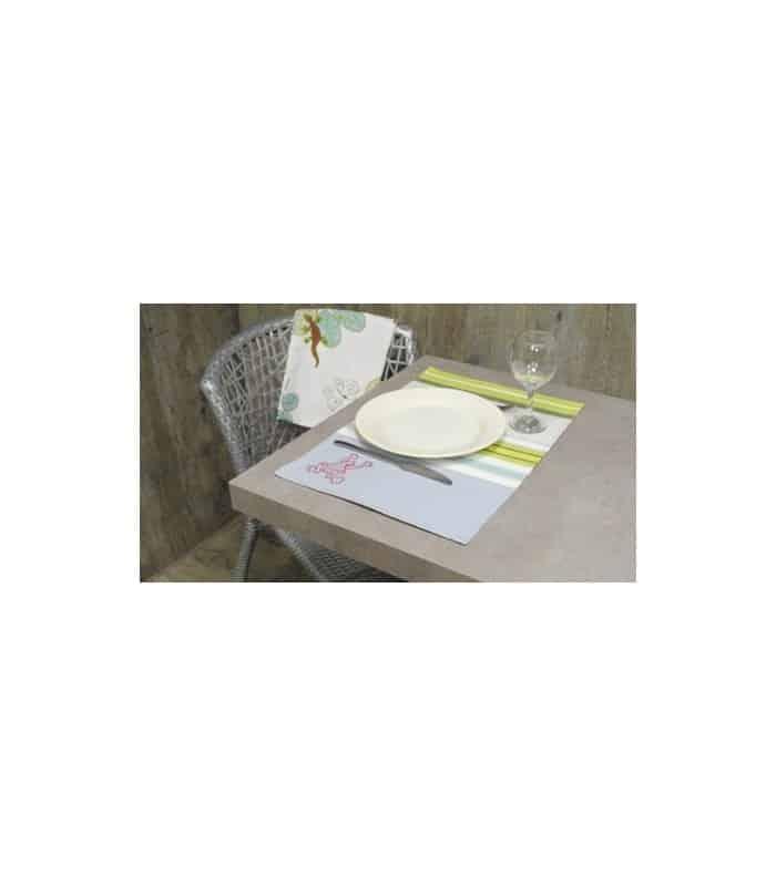 ART 2 Sets de table rayé avec grenouille - Bleu