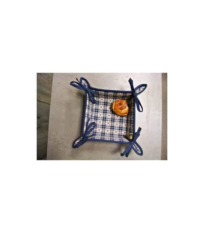 ART Corbeille à pain carreaux et cœur bleu - Bleu