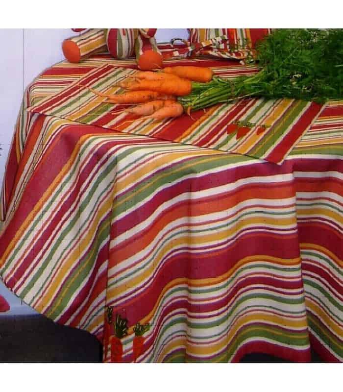 ART Nappe rayée orange brodée légumes - Orange