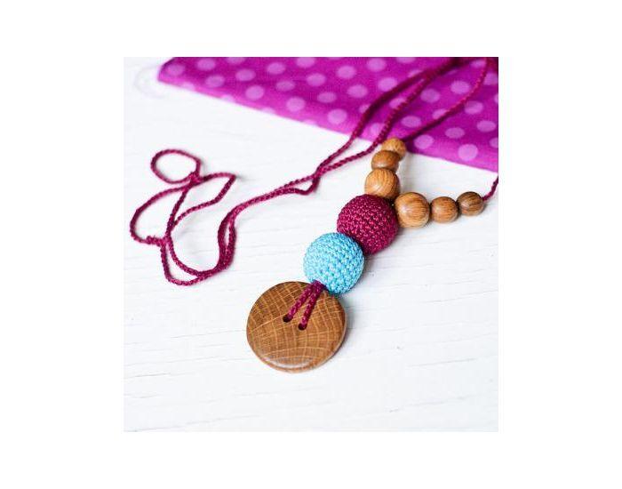 KANGAROO CARE Collier d'allaitement et de portage Cherry et Bright blue Chêne - BN013