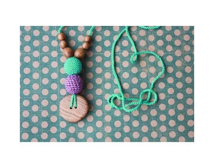 KANGAROO CARE Collier d'allaitement et de portage Purple et Mint Chêne - BN036