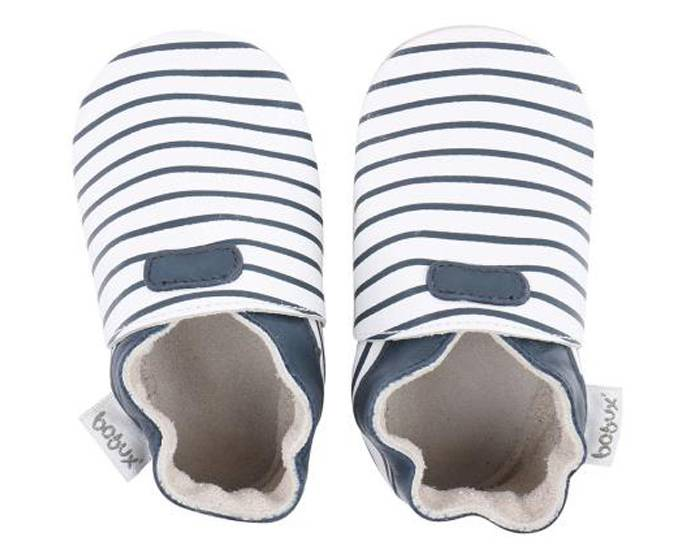 BOBUX Chaussons en Cuir - Blanc Rayé Marine Small (taille 18)