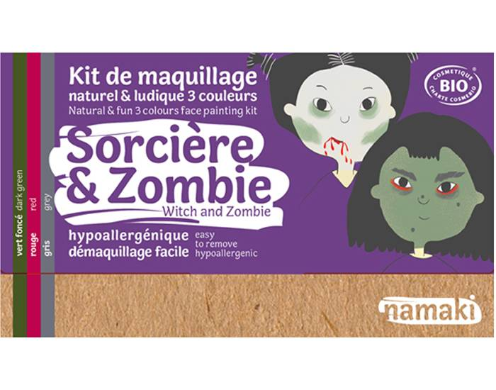 NAMAKI Kit de Maquillage 3 Couleurs - Sorcière et Zombie