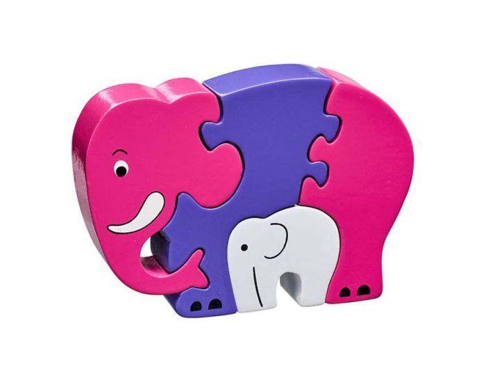LANKA KADE Puzzle en bois Eléphant Rose et son bébé - Dès 10 mois