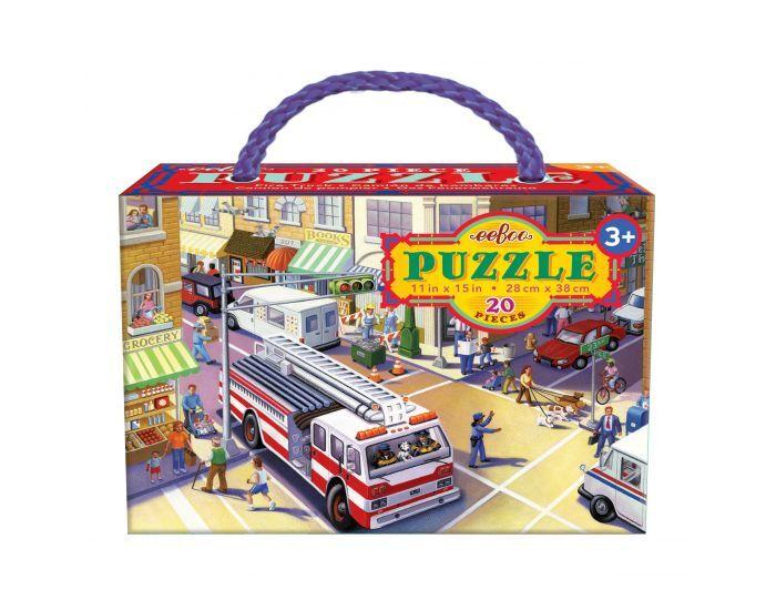 EEBOO Puzzle 20 Pièces - Camion de Pompier - Dès 3 ans