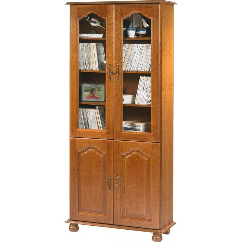 Beaux Meubles Pas Chers Bibliothèque Chêne Rustique 4 Portes