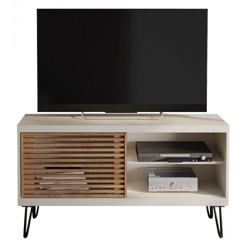 Caemmum Meuble TV 120 cm Blanc Porte Persiennes