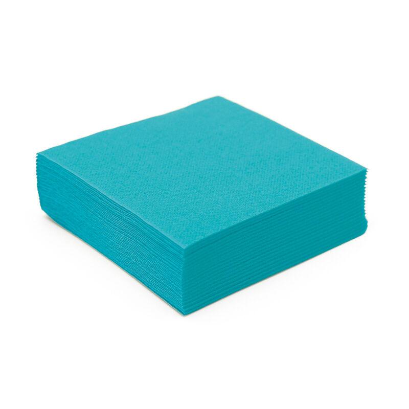 Serviette cocktail papier micro gaufrée turquoise (25 cm) x 50