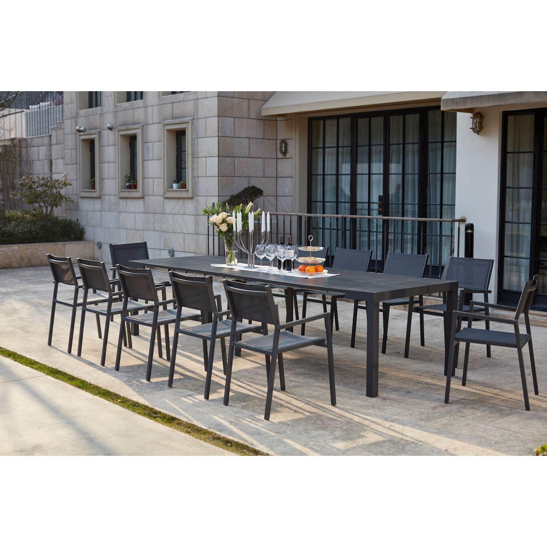 Olhao - Console extensible aluminium + 12 chaises