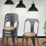 Lot de 4 chaises industrielles métal & bois - Emmy Chaises industrielles... par LeGuide.com Publicité
