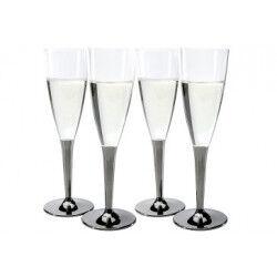 Coupe Champagne Plastique pied argent (x10) Crokus