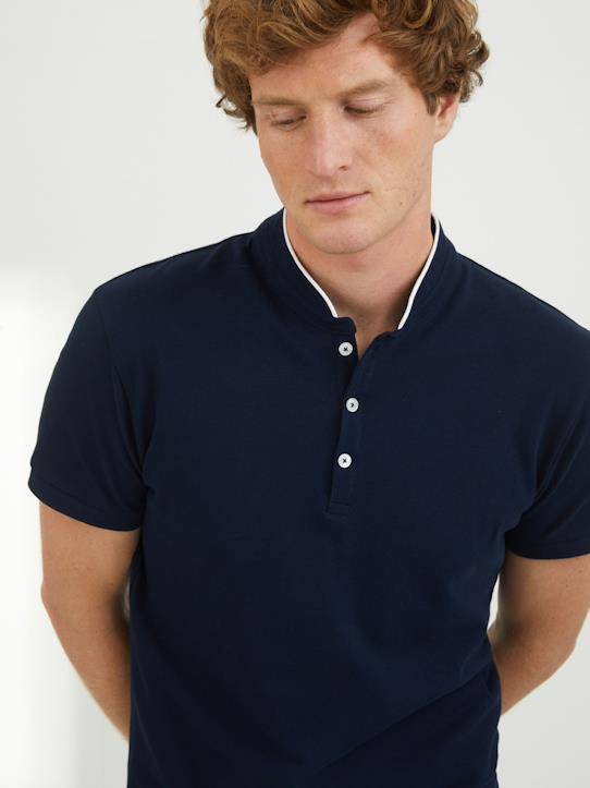 CYRILLUS Polo maille piquée Victor marine taille: L