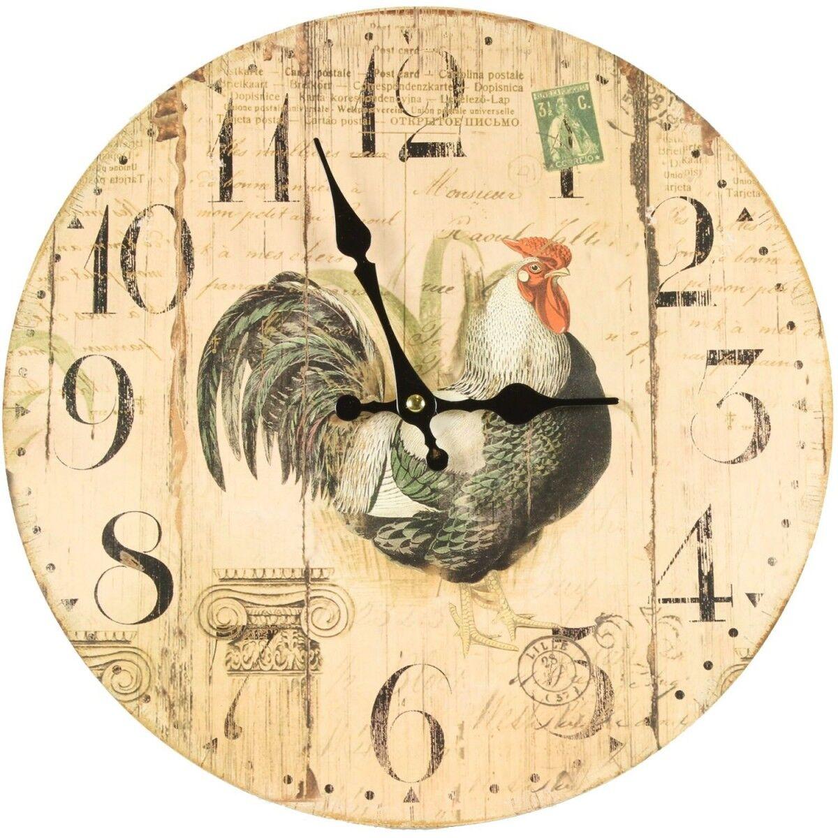 Décoration d'Autrefois Horloge Ancienne Murale Coq 34cm - Bois - Blanc
