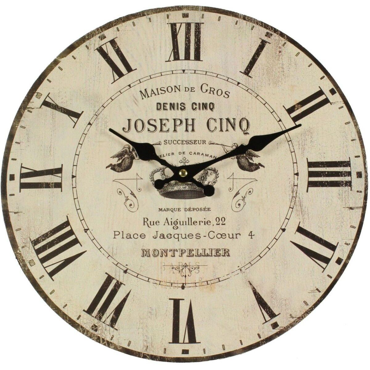 Décoration d'Autrefois Horloge Ancienne Murale Maison De Gros 34cm - Bois - Blanc