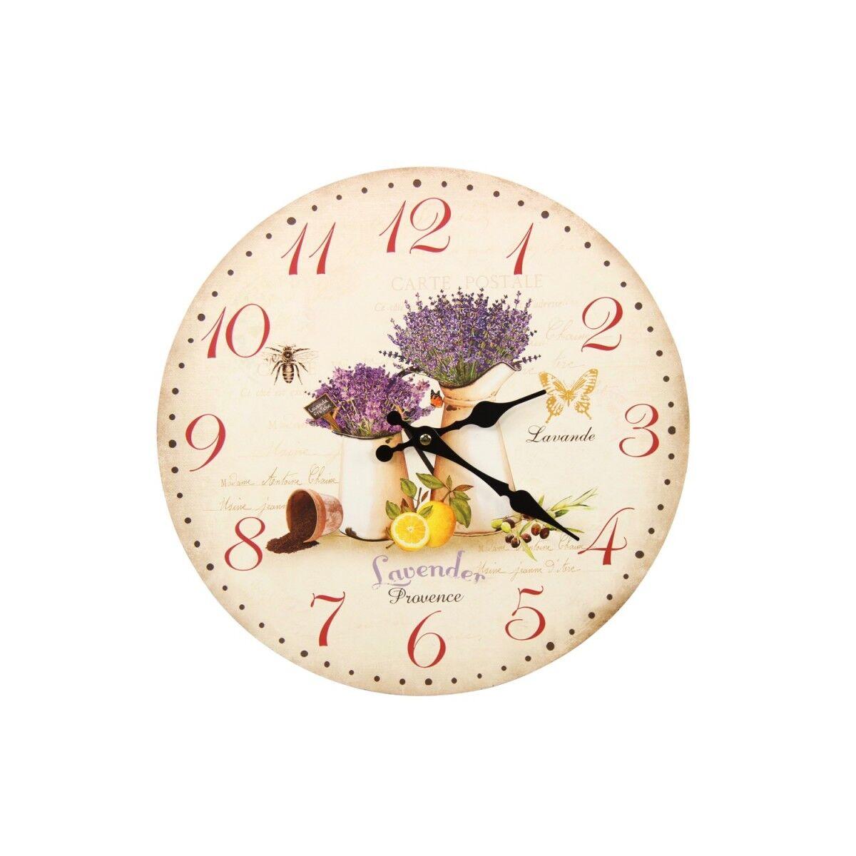 Décoration d'Autrefois Horloge Ancienne Murale Lavande Citron 34cm - Bois - Blanc
