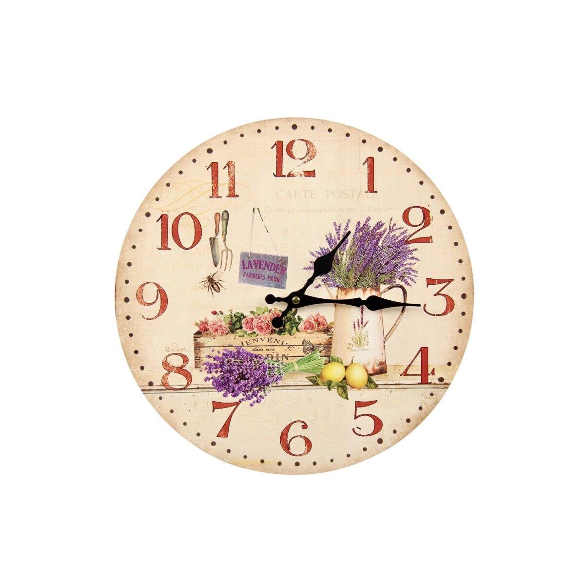 Décoration d'Autrefois Horloge Ancienne Murale Lavande Rose 34cm - Bois - Blanc