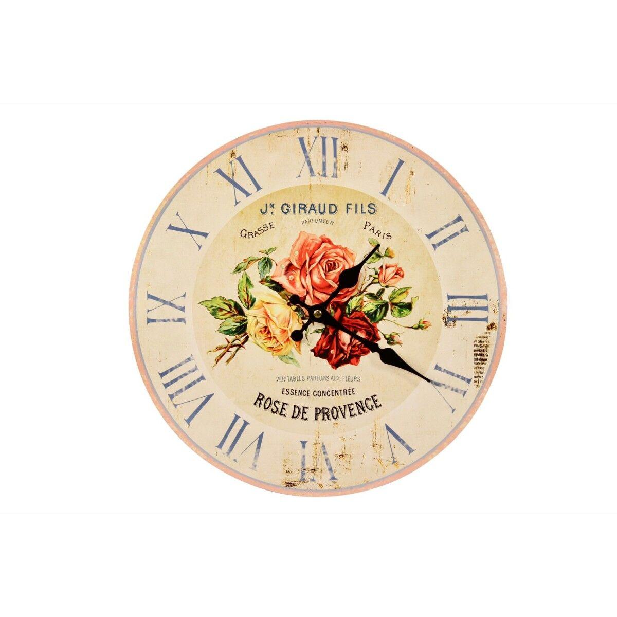 Décoration d'Autrefois Horloge Ancienne Murale Rose de Provence 34cm - Bois - Blanc