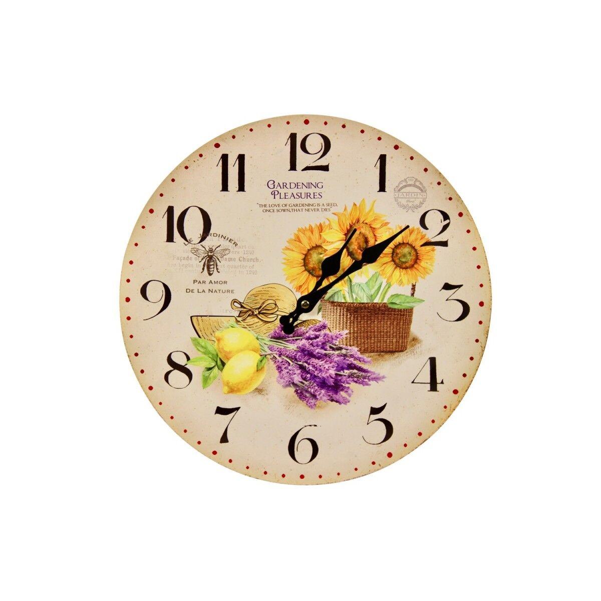 Décoration d'Autrefois Horloge Ancienne Murale Tournesol Citron 34cm - Bois - Blanc