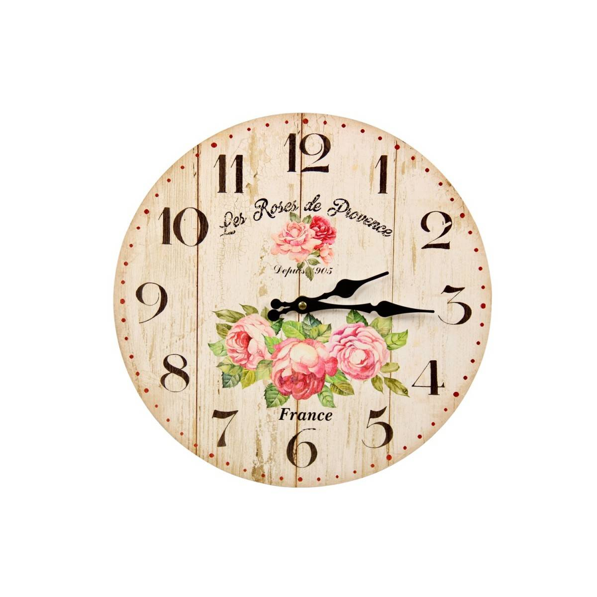 Décoration d'Autrefois Horloge Ancienne Murale Les Roses de Provence 34cm - Bois - Blanc