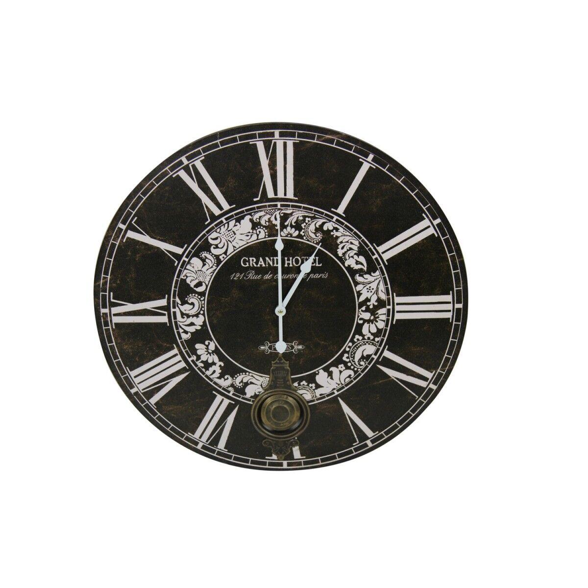 Décoration d'Autrefois Horloge Ancienne Balancier Grand Hôtel 58cm - Bois - Noir