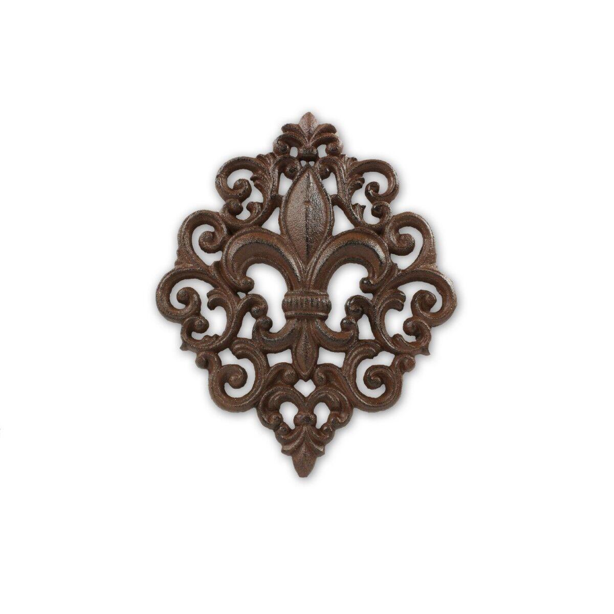 Décoration d'Autrefois Plaque Fleur De Lys Fonte - Marron