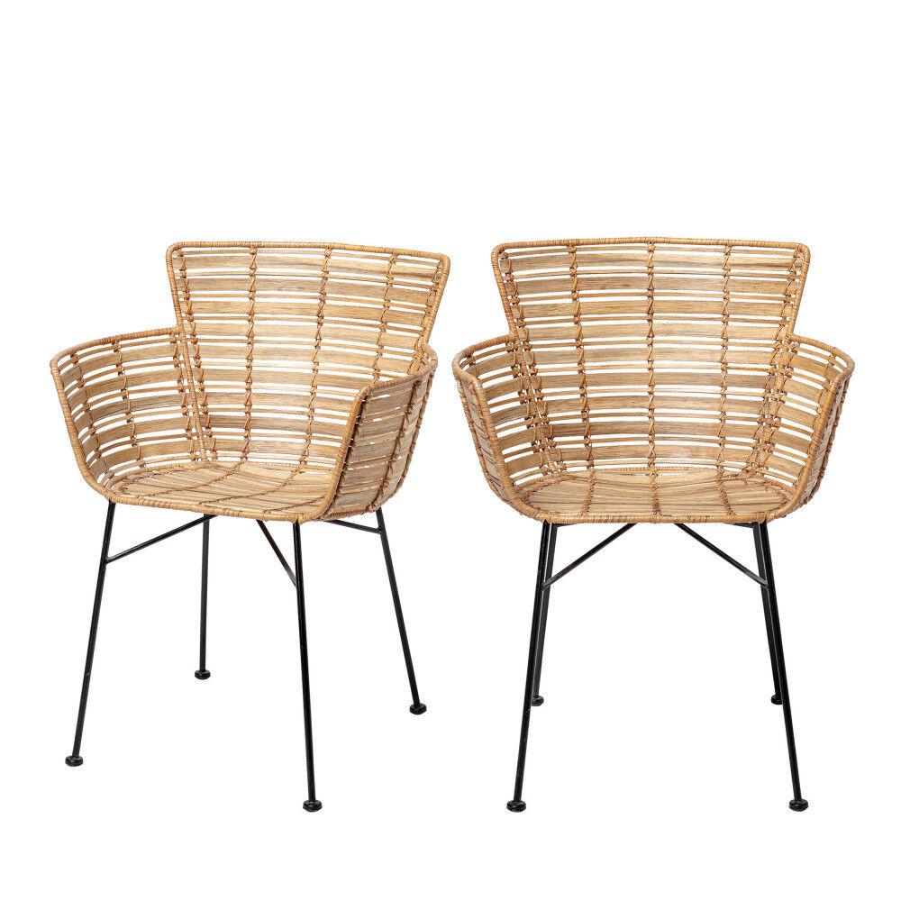 Bloomingville Coast - 2 fauteuils de table en rotin et pieds noirs