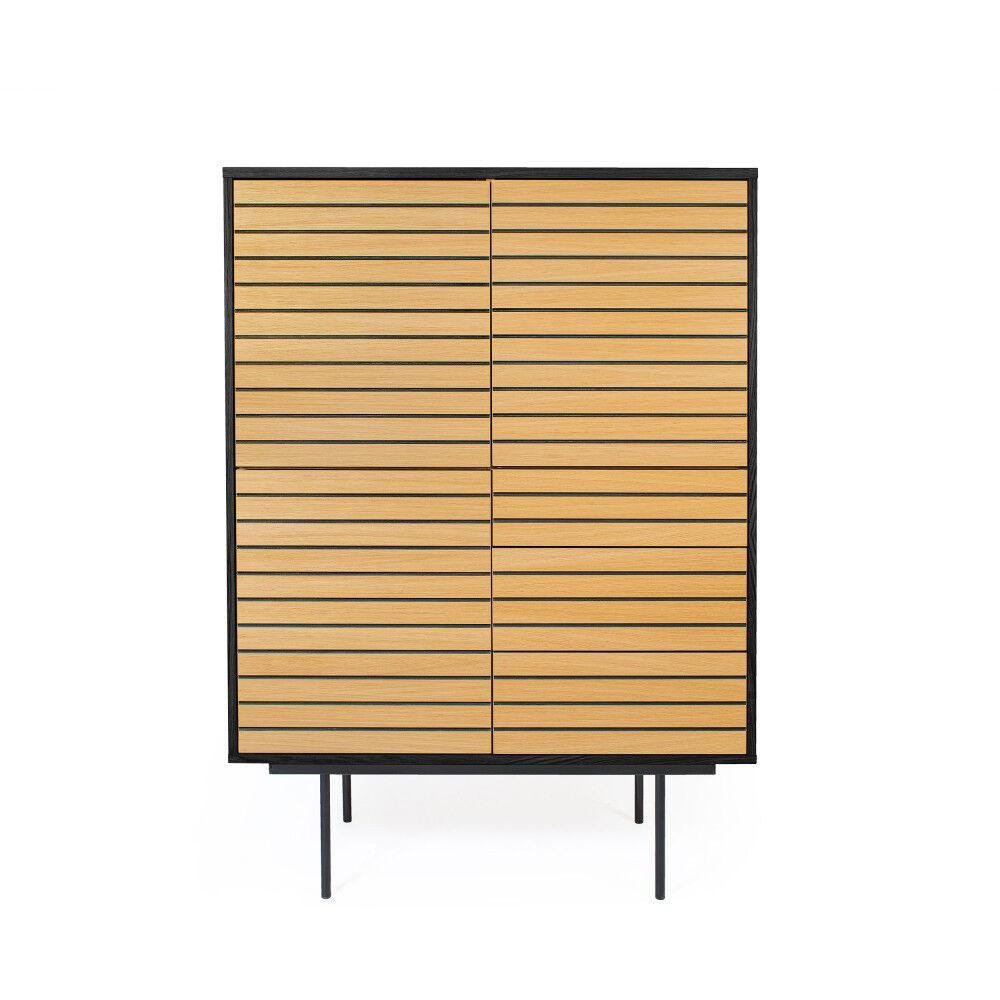 Woodman Stripe - Buffet haut design en bois et métal 101x43cm
