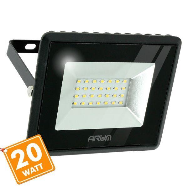 ARUM LIGHTING Projecteur LED ATRIA 20W Noir IP65 Extérieur (Température de Couleur : Blanc chaud 3000K)