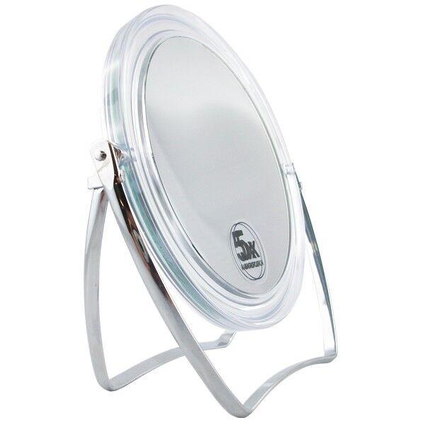 Source Miroir maquillage sur pieds double face - grossissant x5 et normal