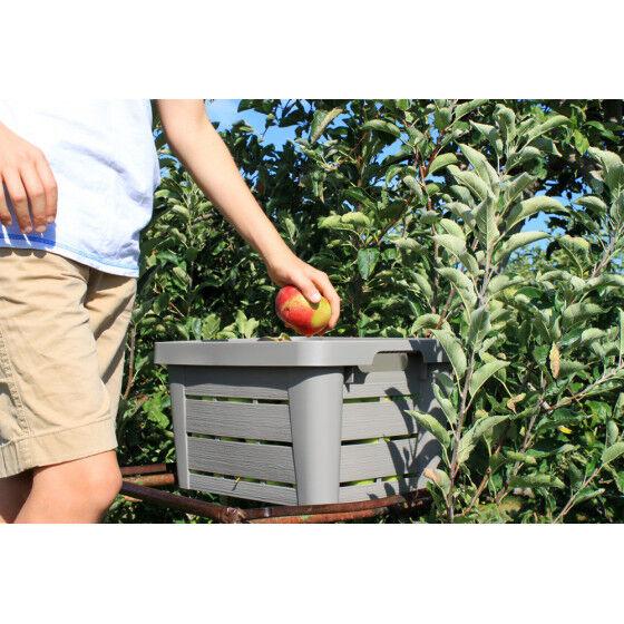 Jardin et Saisons Caisse de rangement en plastique imitation bois 30 L (les 2)